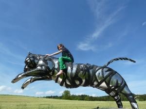 recycling edelstahl reifen Tiger Skulptur Kunstwerk